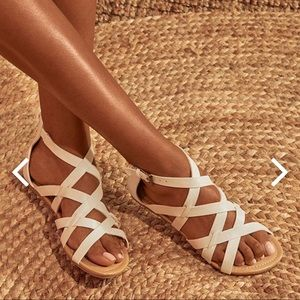 NWOT white strapping sandals